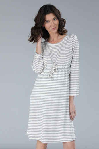 656ac8f9d4f51 Maternity Striped Midi Dress with Long Sleeves | Multicolour | Striped