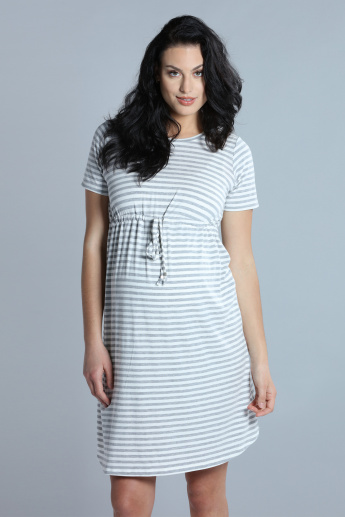 9d71f9c2ccf7f Maternity Striped Midi Dress with Round Neck and Short Sleeves | Grey |  Stripes