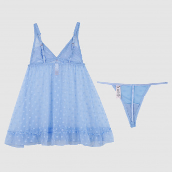 Lace Detail Babydoll with Spagetti Straps and Thongs