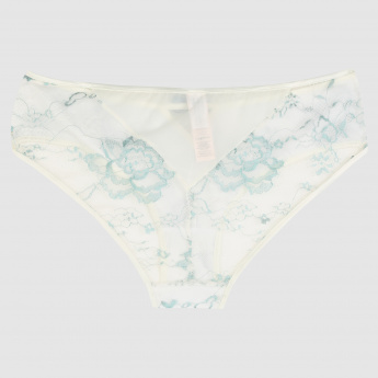 Printed Boyleg Briefs with Elasticised Waistband and Lace Detail