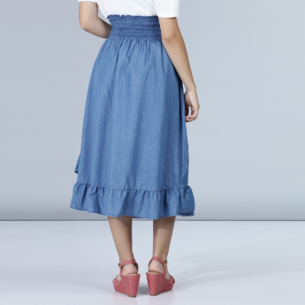 Midi Skirt with Ruffle Detail