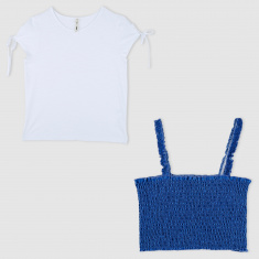 Smocking Detail Top and T-Shirt Set
