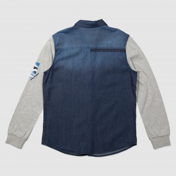 Denim Shirt with Knit Sleeves and Pocket Detailing
