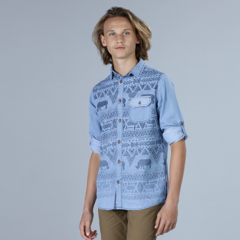 Printed Roll Up Sleeves Denim Shirt