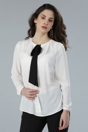 Round Neck Top with Long Sleeves and Tie Detail