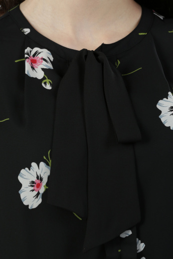 Floral Print Round Neck Top with Tie Detail