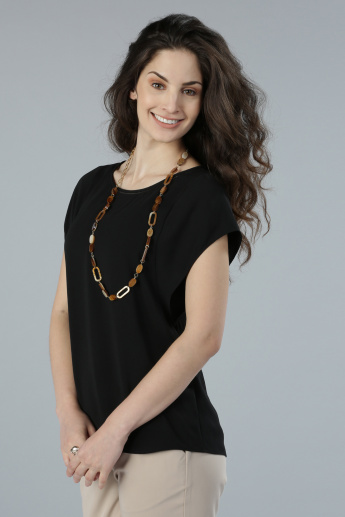 Round Neck Top with Keyhole Closure