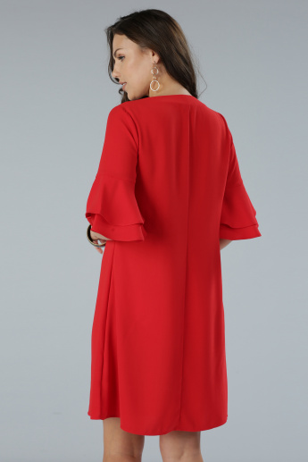 V-Neck Dress with Ruffle Sleeves