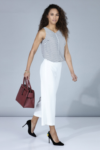 Striped Sleeveless Top with V-Neck