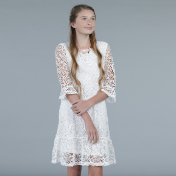 Lace Midi Dress with 3/4th Sleeves