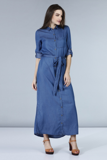 Denim Maxi Dress with Waist Tie Ups and Full Placket