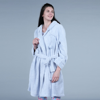 77df083b88 Plush Detail Robe with Long Sleeves and Tie Up Closure