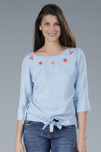 Embroidered Top with 3/4 Sleeves and Tie-Up Detail
