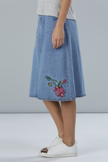 Floral Embroidered A-Line Midi Denim Skirt