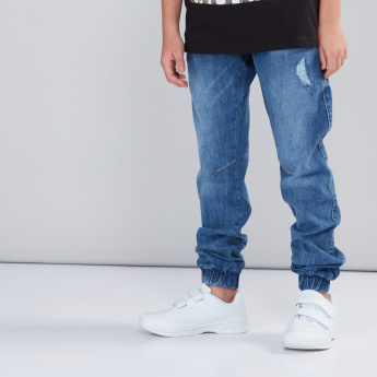 Textured Denim Jog Pants with Pocket Detail