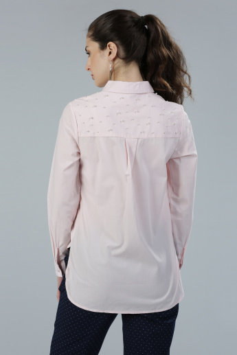 Embellished Shirt with Long Sleeves and Complete Placket