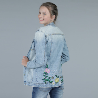 Embroidered Denim Jacket with Long Sleeves and Complete Placket