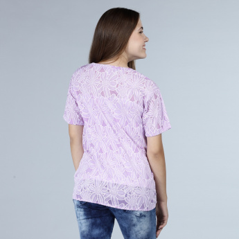 Floral Detail Short Sleeves T-Shirt