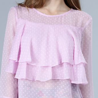 Textured Layered Frill Top with Long Sleeves