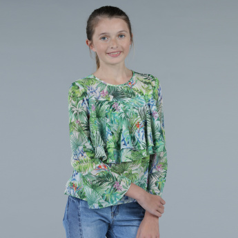 Printed Round Neck Layered Top