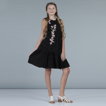 Embroidered Dress with Ruffle