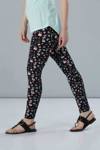 Floral Print Full Length Leggings in Skinny Fit