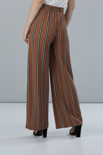 Striped Full Length Palazzo Pants with Pocket Detail