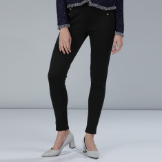 Slim Fit Pants with Elasticised Waistband and Pocket Detailing