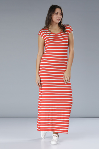 Striped Maxi Dress with Cap Sleeves