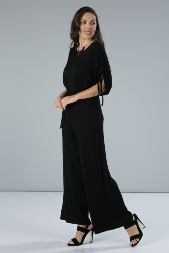 Short Sleeves Jumpsuit with Tie-Up