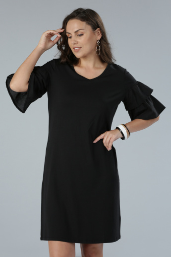 V-Neck Midi Dress with Frill Sleeves