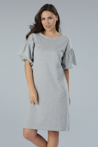 Round Neck Dress with Balloon Sleeves