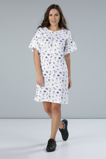 Printed Midi T-Shirt Dress with Short Sleeves