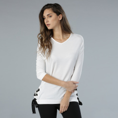 Knit Top with Side Tie Ups