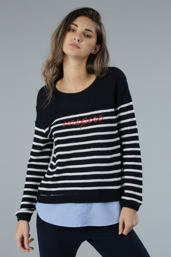 Striped Knit Sweater with Mock Hem