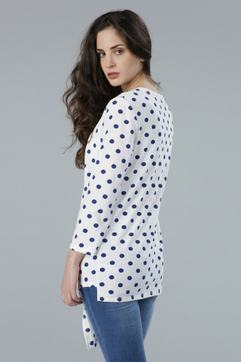 Printed Long Sleeves Top with Tie-Up Detail