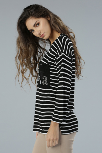 Striped Drop Shoulders Long Sleeves T-Shirt with Embellished Pocket