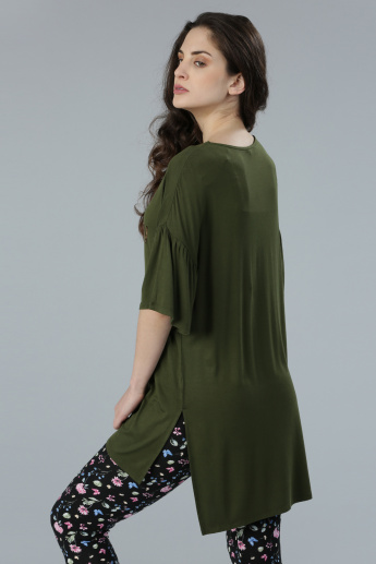 Embellished Long Line Top with Round Neck