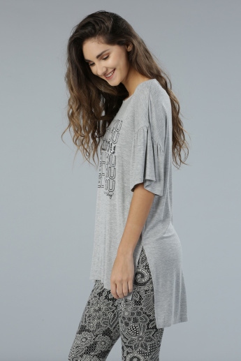 Sequin Embellished Longline Ruffle Sleeves T-Shirt