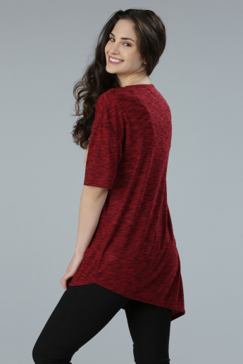 Printed Round Neck Top with Asymmetrical Hem