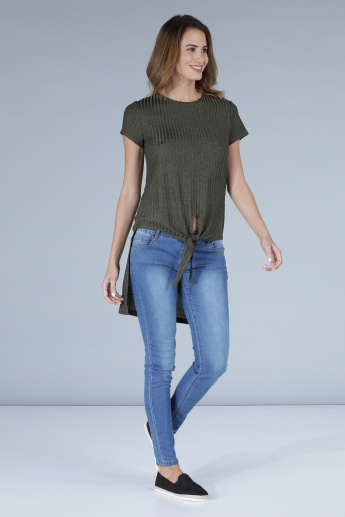 Ribbed T-Shirt with Round Neck and High Low Hem