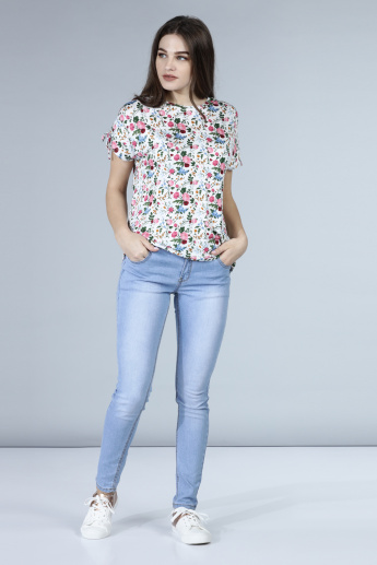 Floral Print Top with Tie Ups on Sleeves