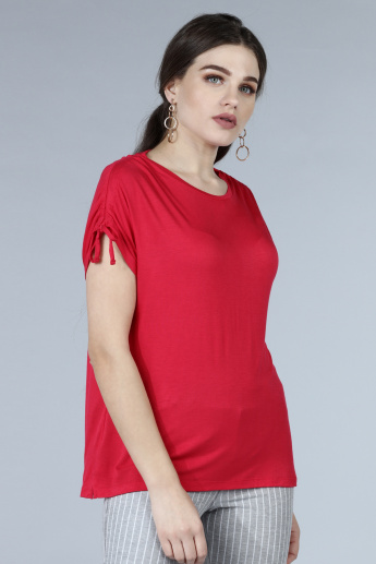 Short Sleeves T-Shirt with Ruching Detail