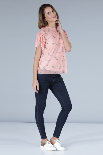 Printed Mesh Detail Top with Short Sleeves