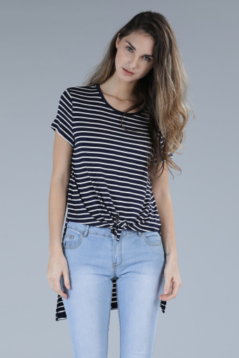 Striped T-Shirt with Short Sleeves and High Low Hem