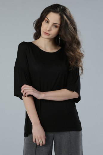 Round Neck T-Shirt with Ruffle Sleeves