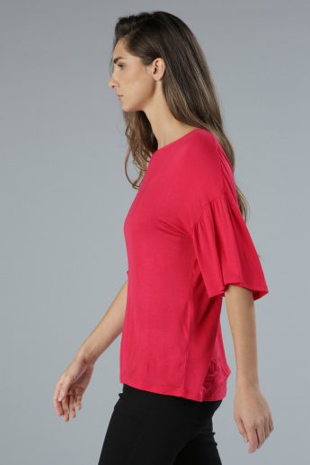 Round Neck Top with Ruffle Sleeves