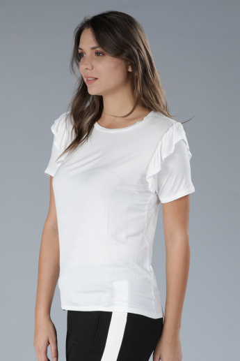 Round Neck T-Shirt with Short Sleeves and Ruffle Detail