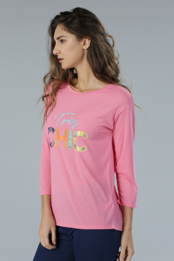 Printed 3/4th Sleeves T-Shirt with Round Neck