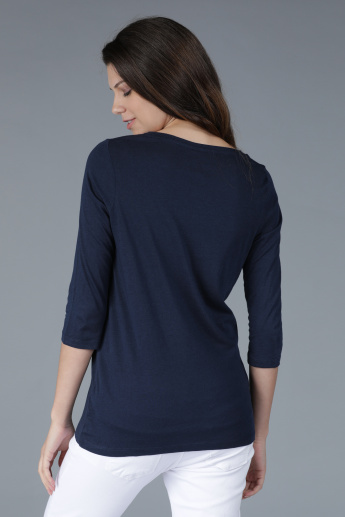 Embellished Round Neck T-Shirt with 3/4 Sleeves